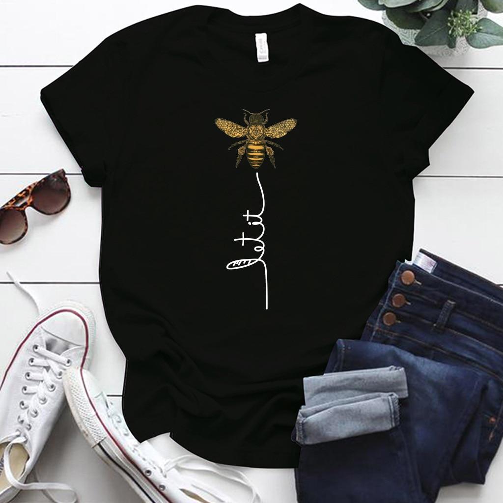 Harajuku Women Bee Kind T-shirt Aesthetics Graphic Short Sleeve Polyester T Shirts Female Camisetas Verano Mujer ropa mujer 2020