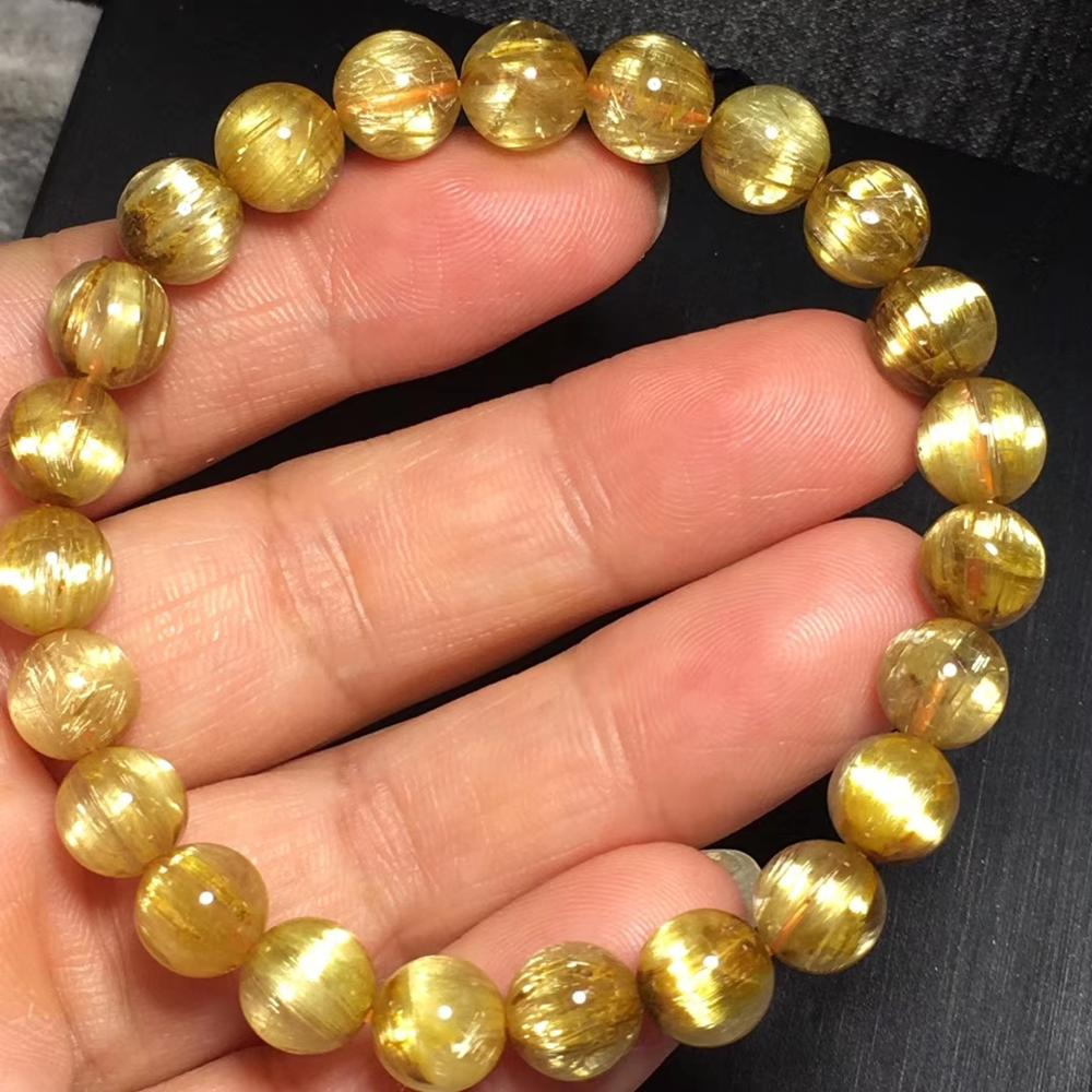 Genuine Natural Gold Rutilated Quartz Crystal 8mm Woman Man Titanium Wealthy Round Beads Bracelet Jewelry Bangle AAAA