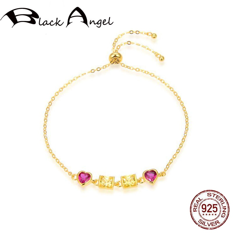 925 Sterling Silver Adjustable Double Pink Zircon Heart Shape Gold Color Original Bracelet for Women Silver Fine Jewelry