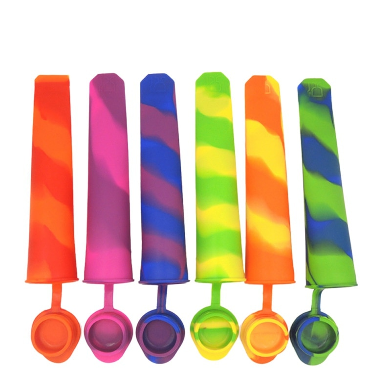 Molde de silicona para tubos de hielo con tapas, máquina para hacer helados de colores, moldes para helados de verano, accesorios de cocina de Color aleatorio