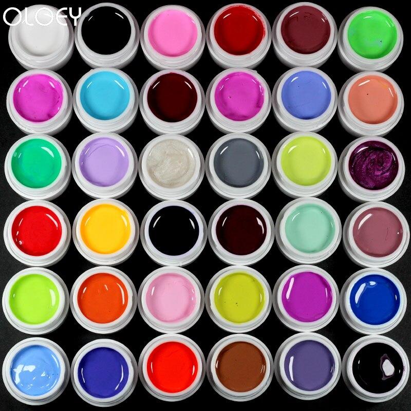 Arte de uñas 36 color puro uv gel de color uv pintura de gel kit de uv gel de color uñas alumno de esmalte de uñas de gel uv kit