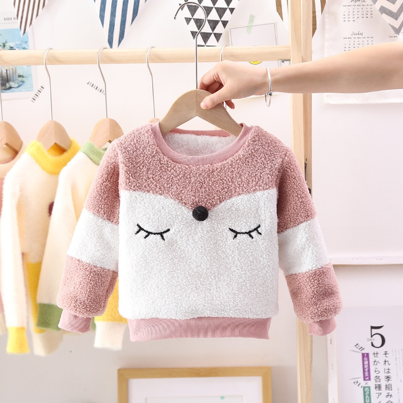 Warm Toddler Boys Girls Sweatshirts Autumn Winter Coat Sweater Baby Plus velvet thicken Outfit kids Warm clothes Cheap Promotion new design fall winter thanksgiving kids outfit wholesale children baby girls cute cheap kid clothes