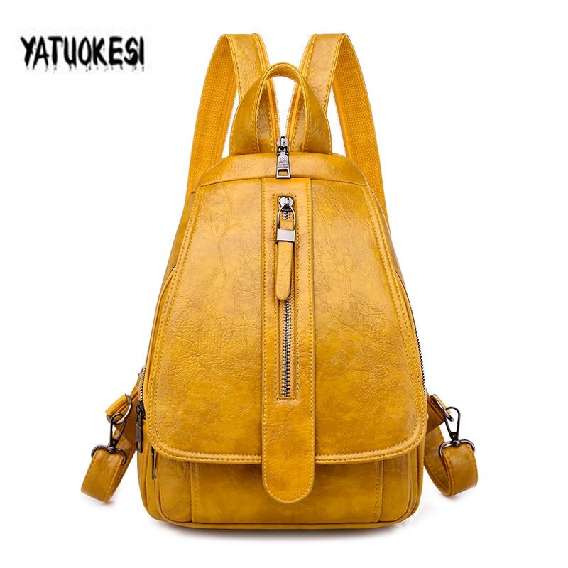 New Vintage 2021 Women's PU Leather Backpack For Ladies Travel Back Bag Chest Shoulder Bag Soft Backbag Mochilas Mujer 2021