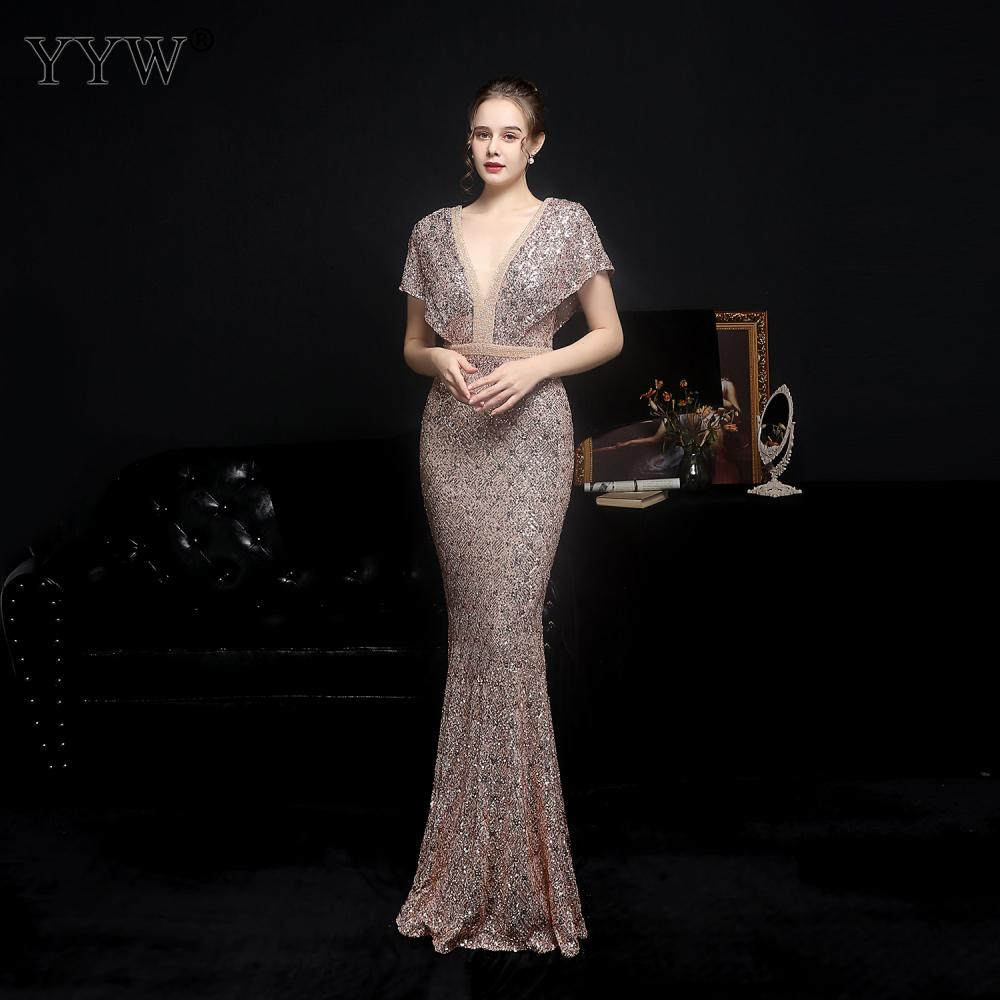 فستان سهرة طويل مطرز بالترتر ، فستان حفلات أنيق ، مثير ، ياقة عميقة على شكل V ، 2021