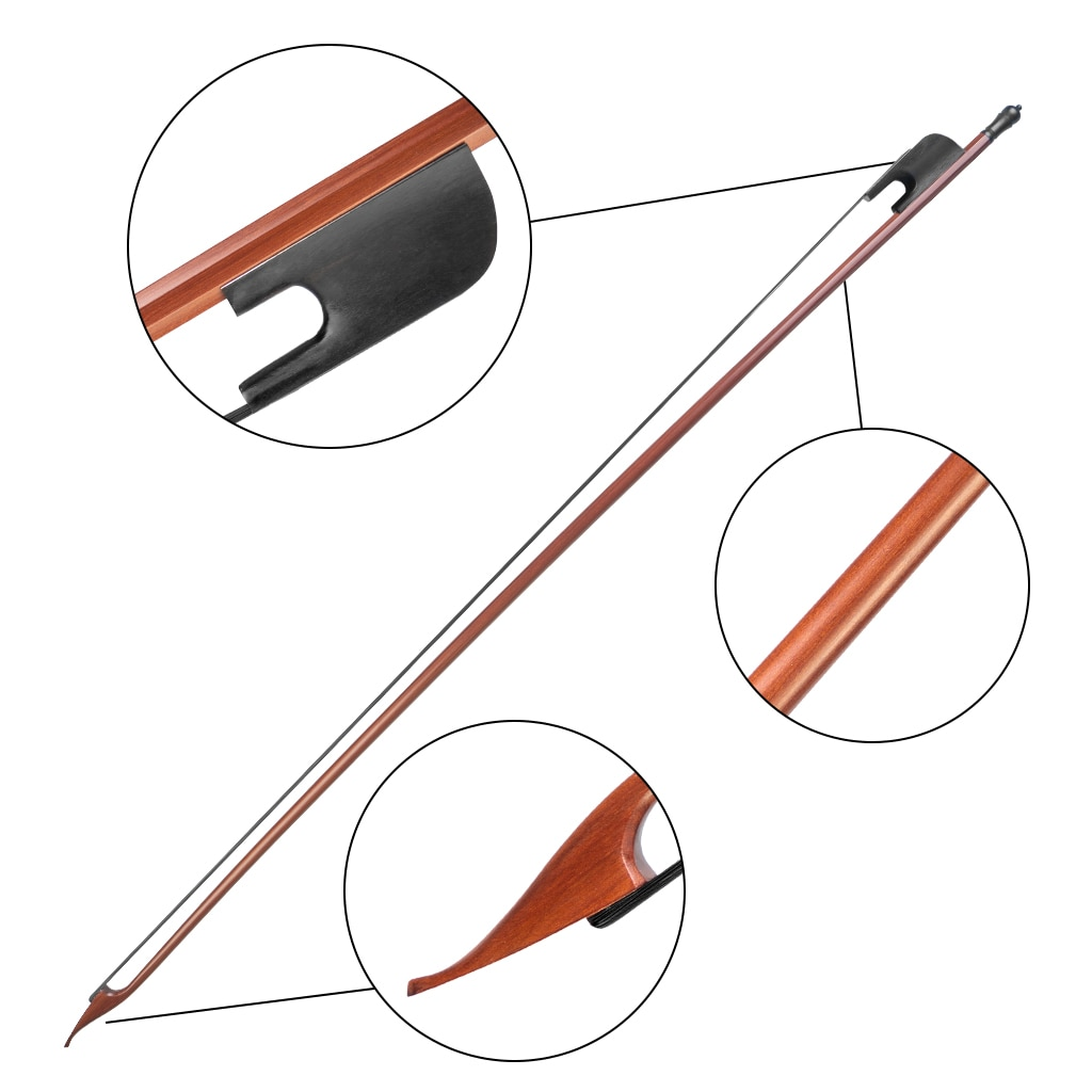 5PCS Professional Pernambuco Perform Violin Bow Full Size Round Stick Horsehair Ebony Frog 4/4 Violin Bow Baroque Fiddle Bow enlarge