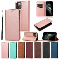 for iphone 12 11 pro max xs xr se 2020 leather case ultra slim magnetic flip cover full protection phone cases for 6 7 8 plus
