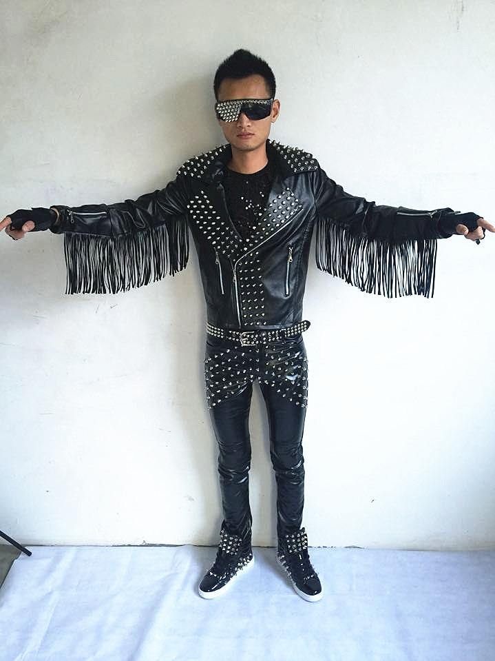 Chaquetas de cuero para hombre remaches imitación cuero motocicleta chaquetas de cuero Dj Rock Punk borla banda cantante disfraz estilista ropa