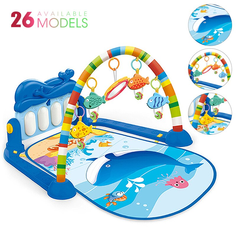 baby activity play mat baby gym educational fitness frame multi bracket baby toys game mats play lay sit toy with piano mirror Baby Play Mat Kids Activity Gym Rug Puzzle Carpet With Piano Keyboard And Cute Animal Playmat Baby Crawling Mat Educational Toys
