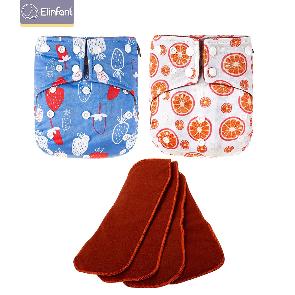 Elinfant Washable Eco-friendly Adjustable Prints Ecologica Coffee Fleece Inner Waterproof Cloth Diaper