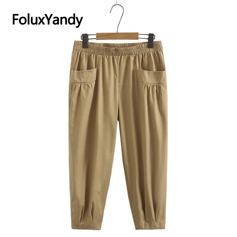 Брюки длиной до щиколотки женские свободные летние брюки с поясом на резинке KKFY5503