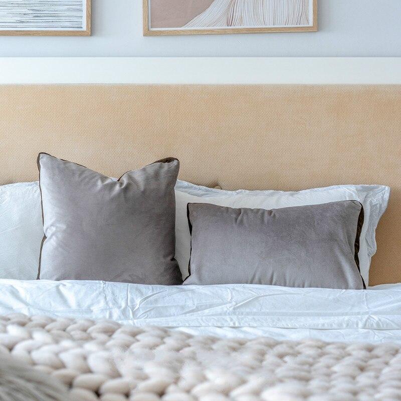 Funda de cojín de DUNXDECO funda de almohada decorativa moderna Simple gris liso sofá Silla de cama Housse de coussin