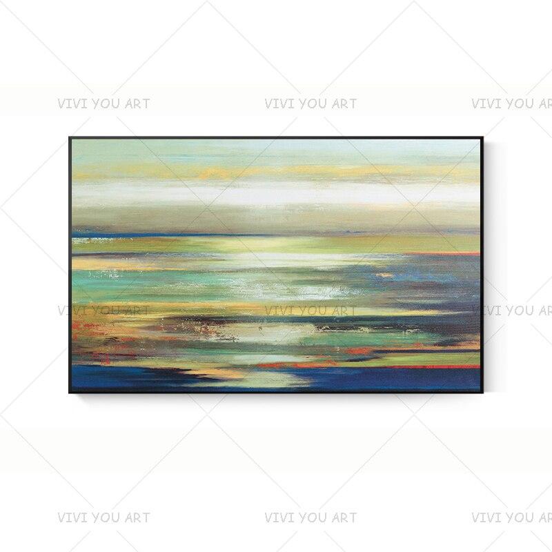 Nuevo Color de vistas del mar pintado a mano pintura al óleo abstracta lienzo arte decoración de pared del hogar cuadros cuadro sin marco moderno