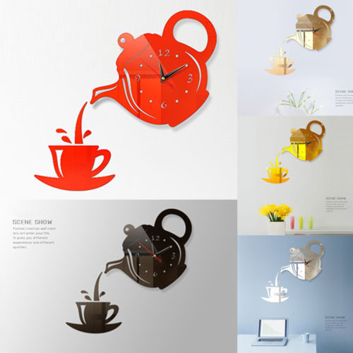 Xícaras de Café acrílico Espelho Relógio de parede Design Moderno de Decoração Para Casa Decoração Arte Da Parede Da Cozinha Adesivo de Parede Para Sala De Jantar Decoração de casa