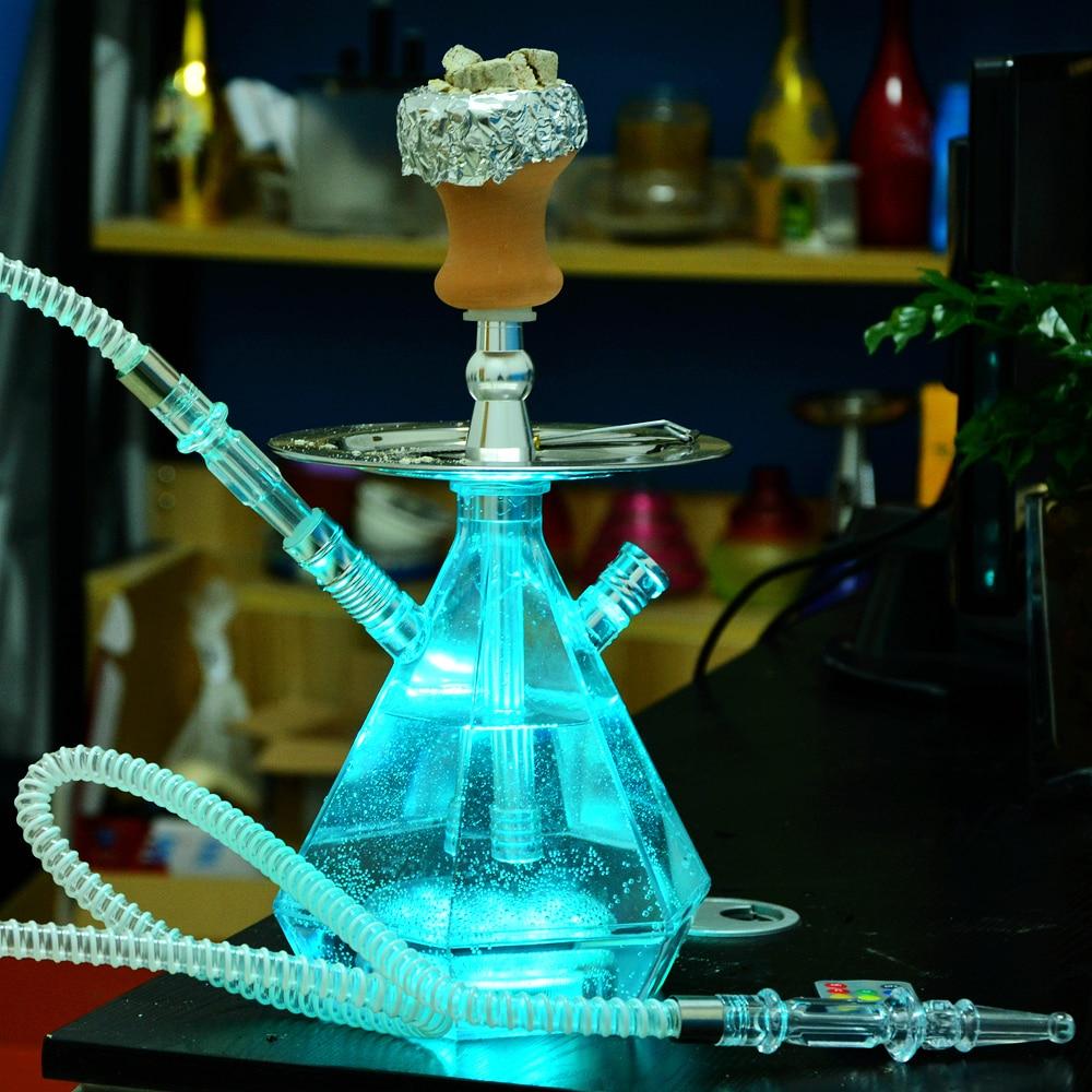 Transparent Acrylic Hookah Set LED Light Shisha With Cachimba Bowl Sheesha Hose Charcoal Holder Meta