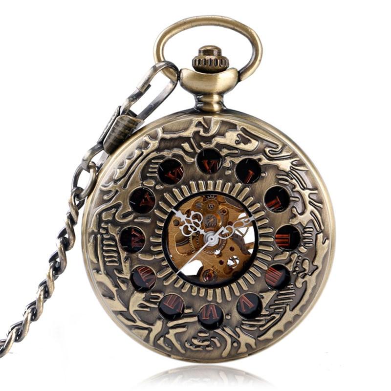 Relógio de Bolso Steampunk Mecânico Meia Caçador Relógio Esqueleto Numeral Romano Pingente Corrente Colecionável