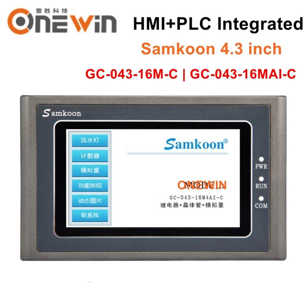 Samkoon 4,3 zoll HMI PLC Alle-in-one Integrierte controller HMI Touch Screen Panel 8DI 8DO GC-043-16MAI-C GC-043-16M-C