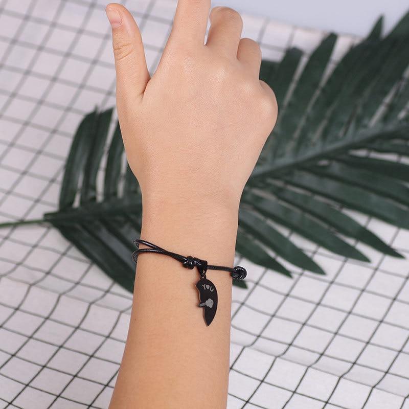 2 PCs/Lot Unique Couple Bracelets for Women Men Black Stainless Steel Heart Two Halves Paired Bracelet Fashion Jewelry Wholesale