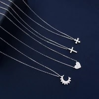 cheny s925 sterling silver september new fashion simple compact cross love moon four leaf clover pendant necklace female