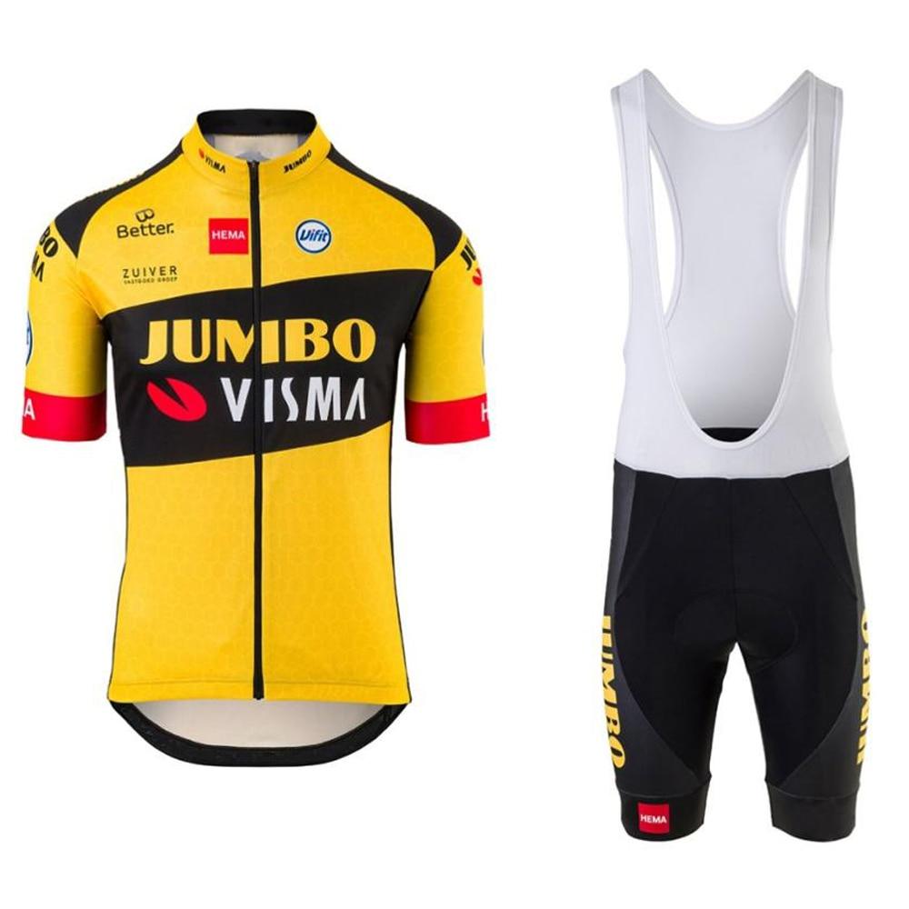 2020 Pro team jumbo visma cycling jersey set mens bicycle maillot MTB Racing ropa Ciclismo summer quick dry bike cloth GEL pad