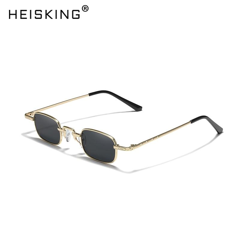 HEISKING Retro Small Square Metal Steampunk Sunglasses Women Men Fashion Glasses Vintage Female High