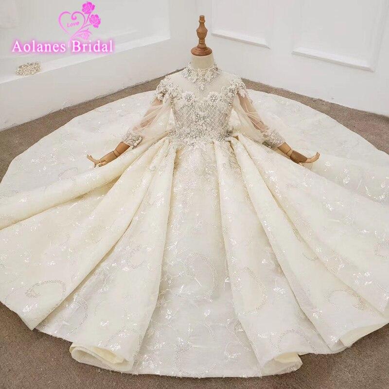 فستان زفاف من التول والدانتيل مع خرز كريستالي للبنات ، جودة عالية ، فستان عرض