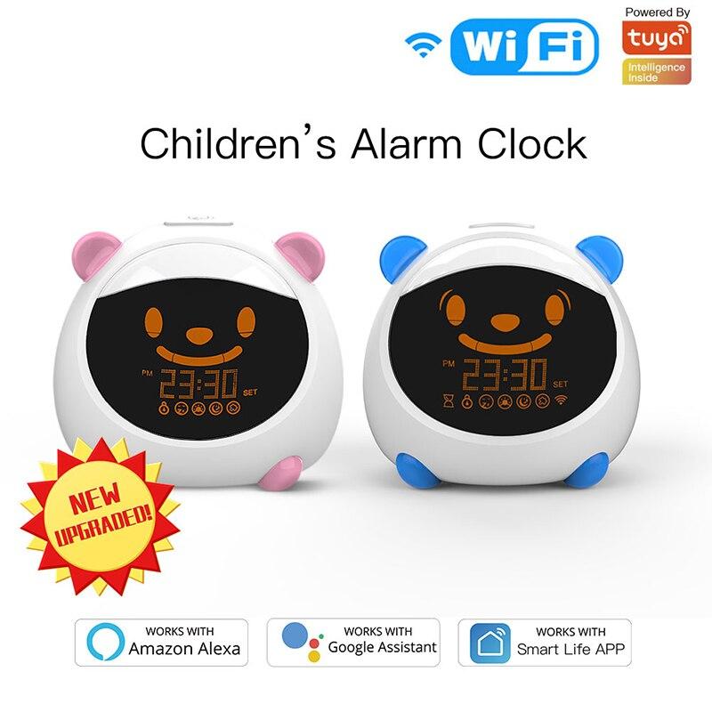 Despertador inteligente WiFi para niños, reloj de entrenamiento para dormir, expresión de sonido, vida inteligente, Tuya, aplicación de Control de voz con Alexa Google Home IFTTT