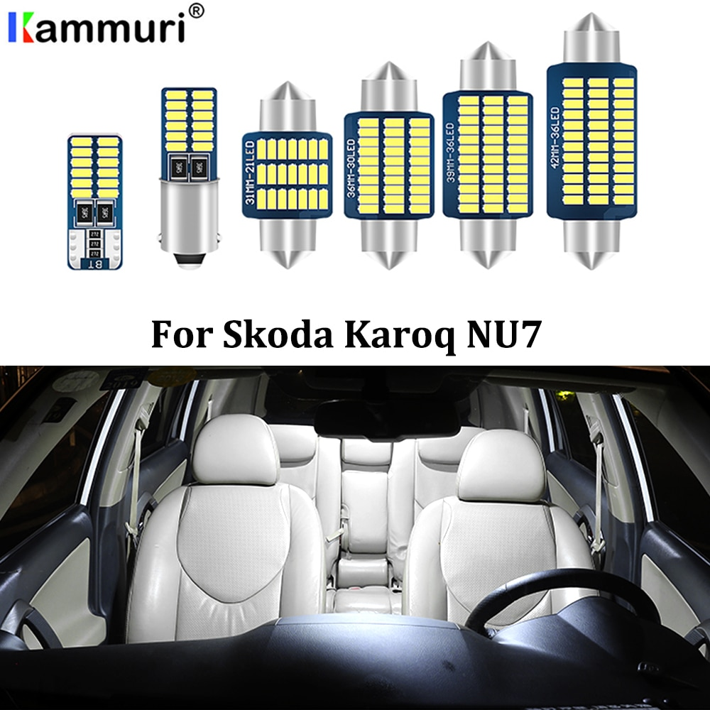 Kammuri 16 pçs nenhum erro canbus branco led carro interior mapa luz pacote kit para skoda karoq nu7 2017 2018