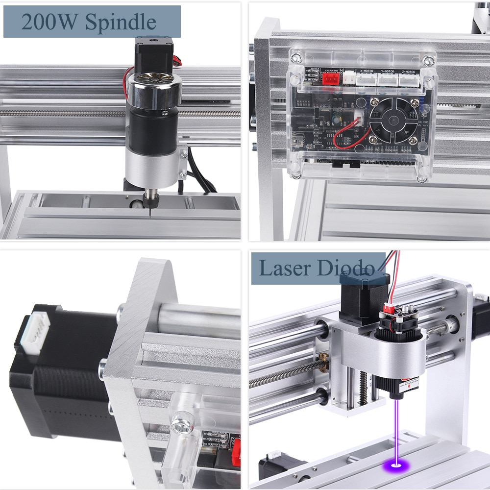 Mini CNC Router Laser Engraving Machine DIY 3018 MAX with 200W Spindle Offline Controller 1000mW 2500mW 5500mW 7W 10W 15W enlarge