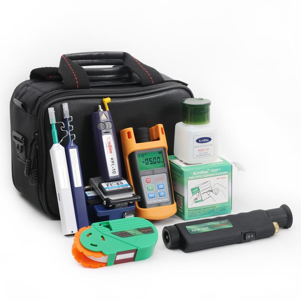 Kit de herramientas de fibra óptica de Economy kombshine KCI-8E incl. Microscopio de fibra óptica + limpiador de tipo bolígrafo + medidor de potencia + Localizador Visual de fallas
