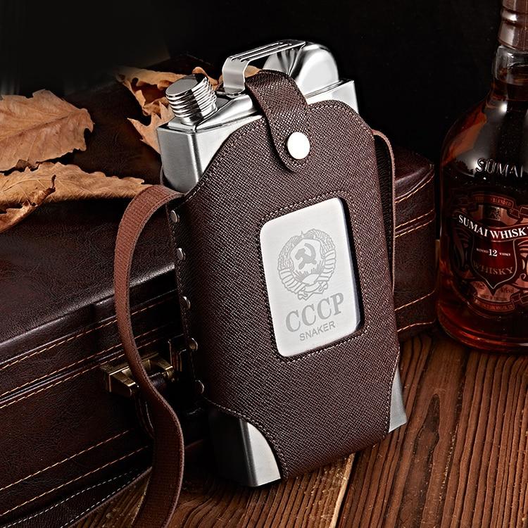 Frasco plano de lujo personalizado de cuero, frasco portátil grueso de Tequila,...