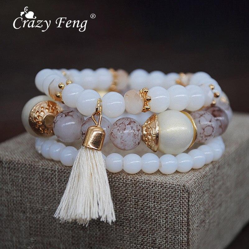 Crazy feng pulseira de pedra natural feminina, bracelete com 3 camadas, joia de presente para mulheres
