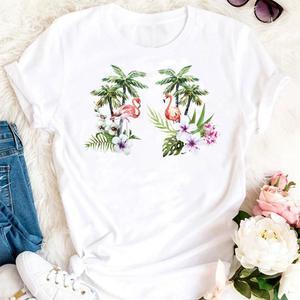 Женские эстетическое летние фламинго, цветочный принт, милый 90s тренд принт с героями мультфильмов, футболки Модная одежда Графический Футболка женская Свободная Женская футболка
