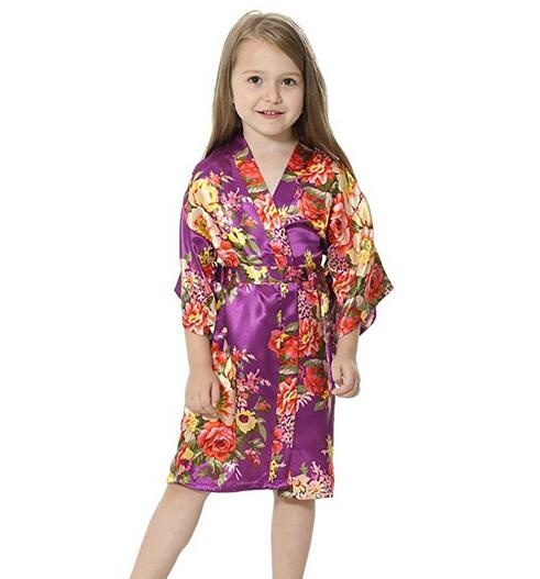 Flower Girl Kids Floral Silk Child Kimono Bridesmaid Bride Robe Women Satin Robes Wedding Nightgown