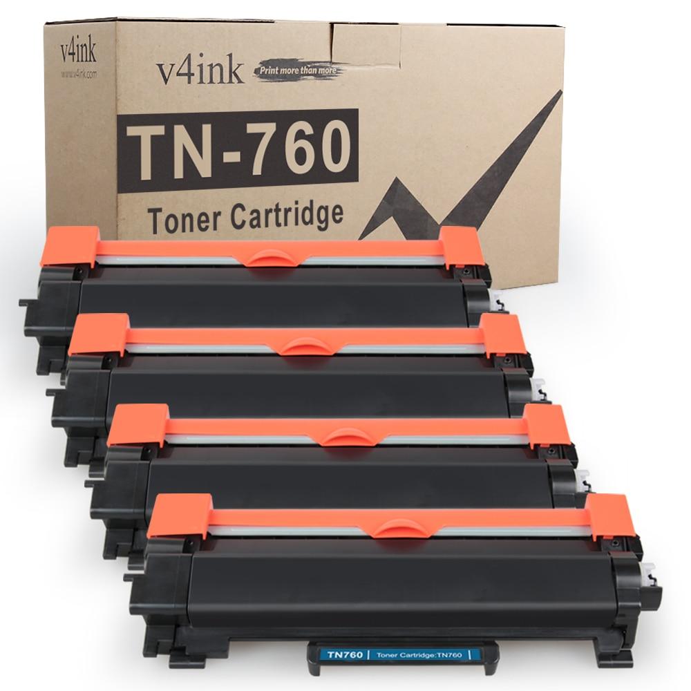 V4ink TN760 TN730 TN2480 cartucho de tóner de reemplazo para el hermano HL-L2350DW L2390DW DCP-L2550DW MFC-L2710DW (4-Pack)