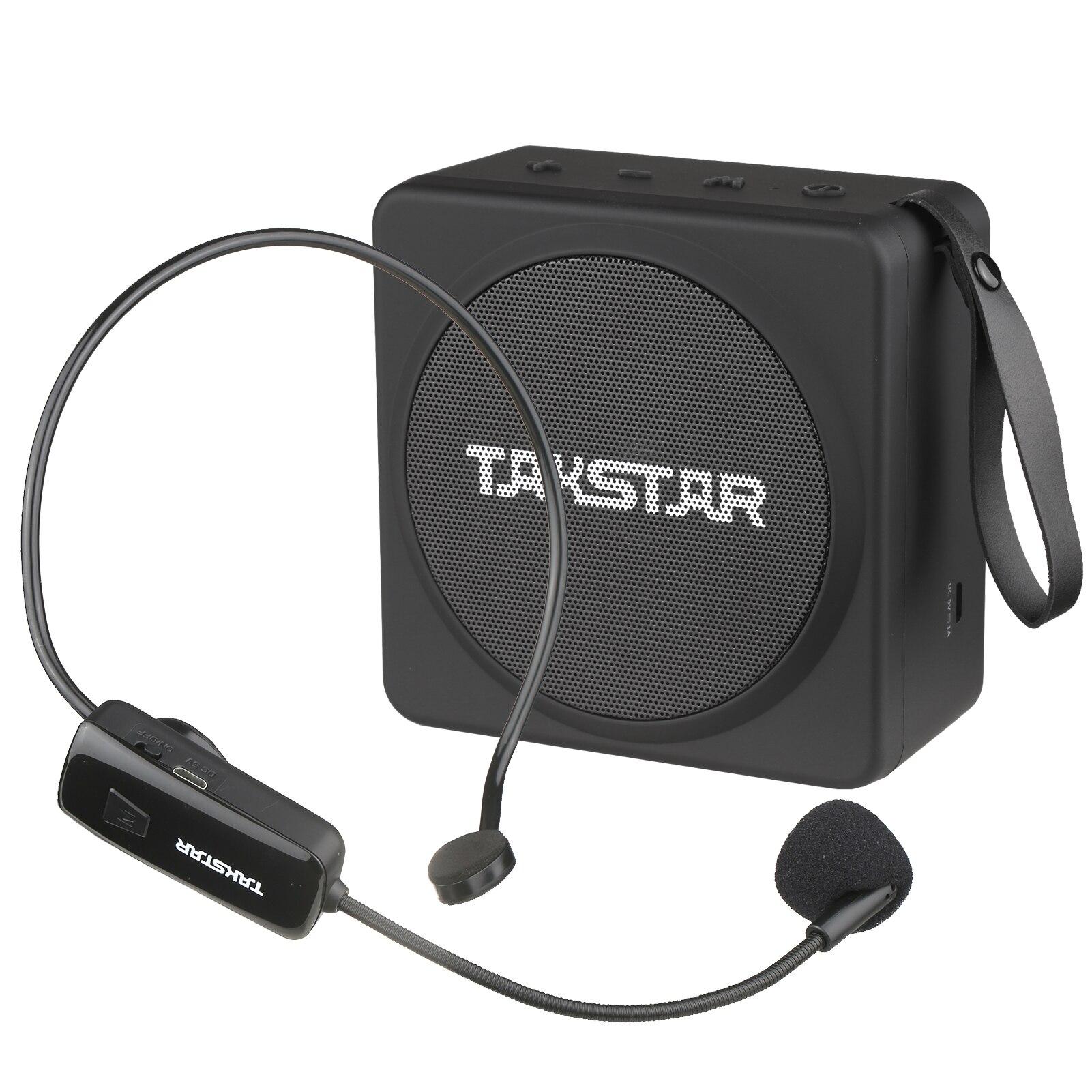 TAKSTAR محمول لاسلكي مضخم صوت قابلة للشحن مضخم لاسلكي مشغل MP3 راديو FM يده ميكروفون المعلمين UHF