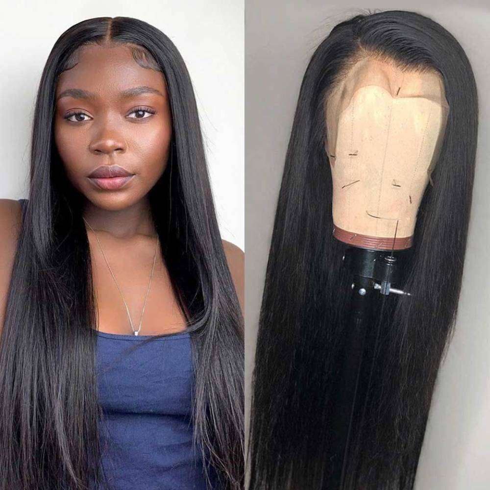 Straight 13x4 Lace Front Human Hair Wigs for Black Women 30