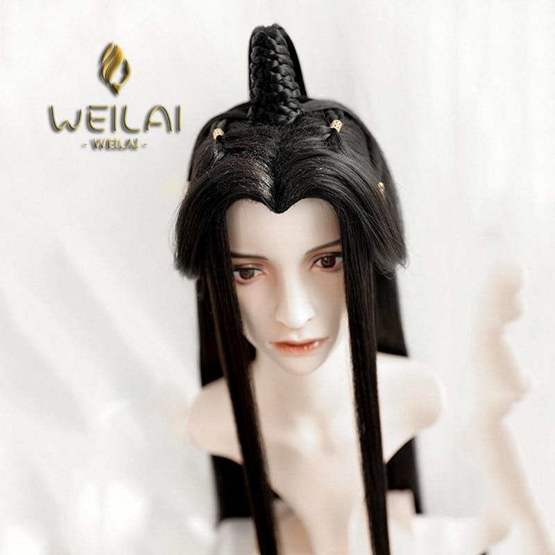 Cabelo longo com alta bun perucas do vintage para homens han dinastia estilo antigo peruca traje antigo versátil usado diário peruca personalizada
