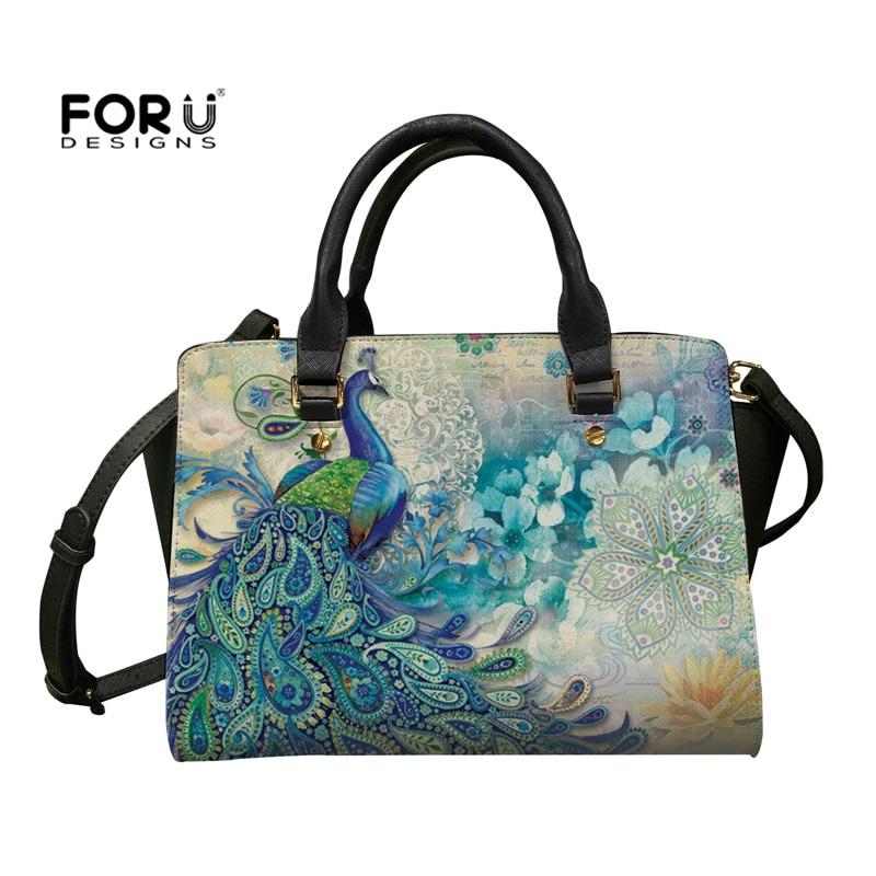 FORUDESIGNS-حقيبة كتف بطبعة الطاووس للسيدات ، حقيبة يد جلدية بسحاب ، سعة كبيرة ، حقيبة حمل أنيقة ، حقيبة كتف للشاطئ