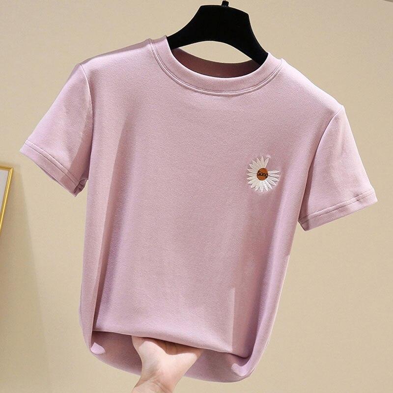 Verano Camiseta mujer Casual cuello redondo manga corta bordado camisas para mujeres moda algodón Koren Stlye ropa Top Camiseta Mujer
