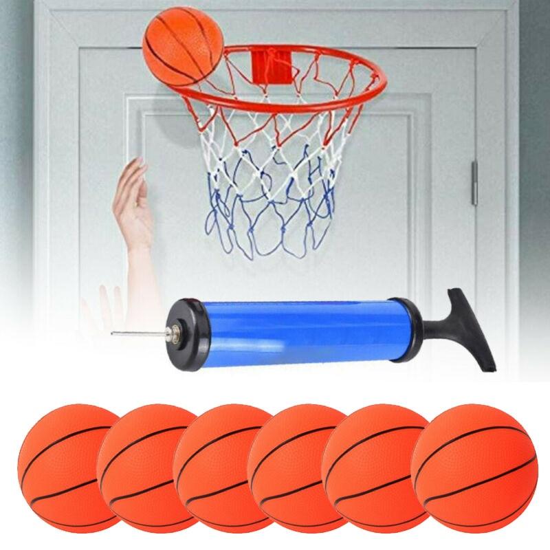 6 шт., детские надувные мини-баскетбольные мячи с насосом, 10 см