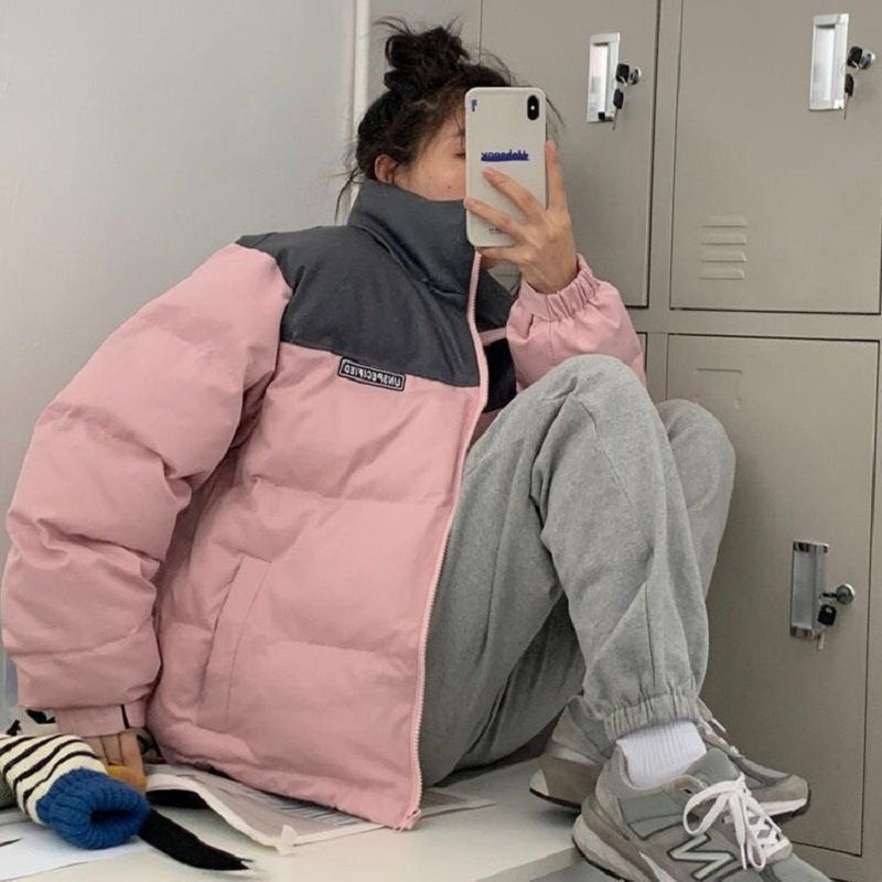 Pink Stand Collar Woman Winter Jacket Puffer Zip Patchwork Basic Cotton Padded Down Coat Streetwear