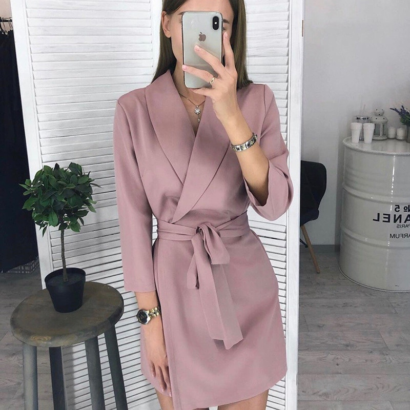 Women Vintage Sashes A-line Party Mini Dress Long Sleeve Notched Collar Solid Casual Elegant Dress 2020 Autumn New Fashion Dress women casual sashes mini dress office ladies v neck long sleeve buttons dress 2020 fashion autumn solid elegant a line dress