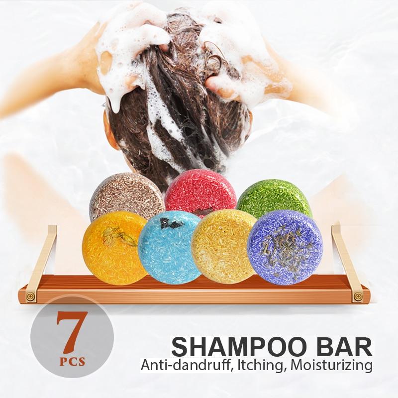 Barra de champú de pelo puro para el cuidado del cabello, 7...