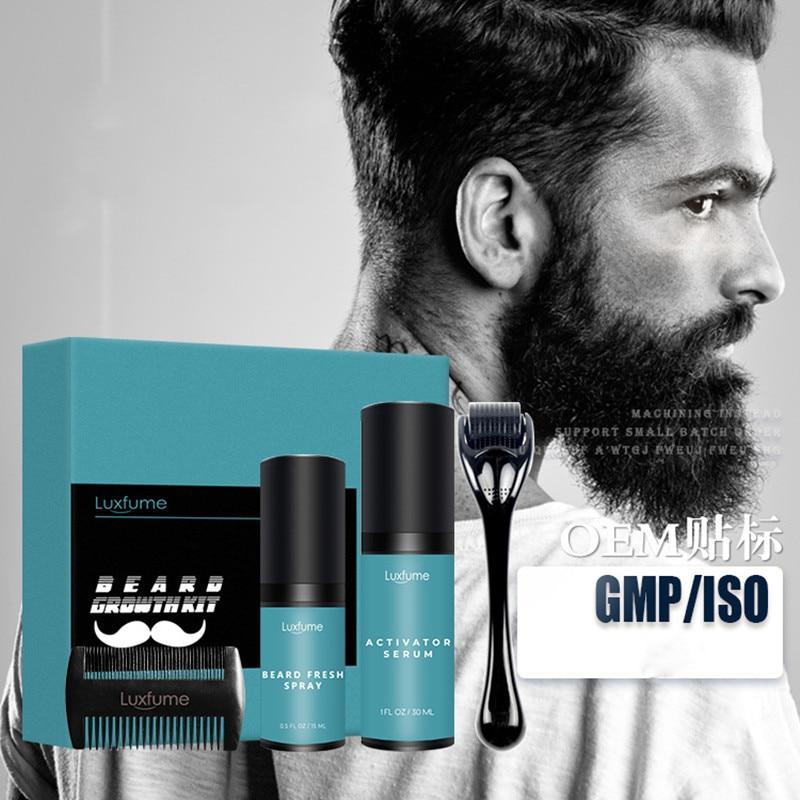 4 Pcs/set Hair Growth Enhancer Set Barbe Beard Growth Kit Beard Growth Essentital Oil Facial Beard Care Set