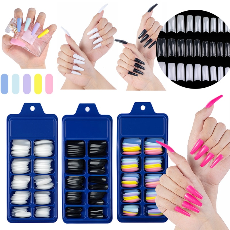 1000/500PCS Fake Nail Art Tips Transparent Nail Fake Fingernails Artifical False Nails Press on Nails Manicure Practice DIY Tool