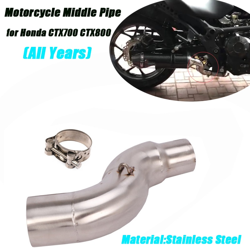 Motorcycle Middle Link Pipe for Honda CTX700 CTX800 Until 2020 Stainless Steel Conneting 51mm Exhaust Muffler Pipe System