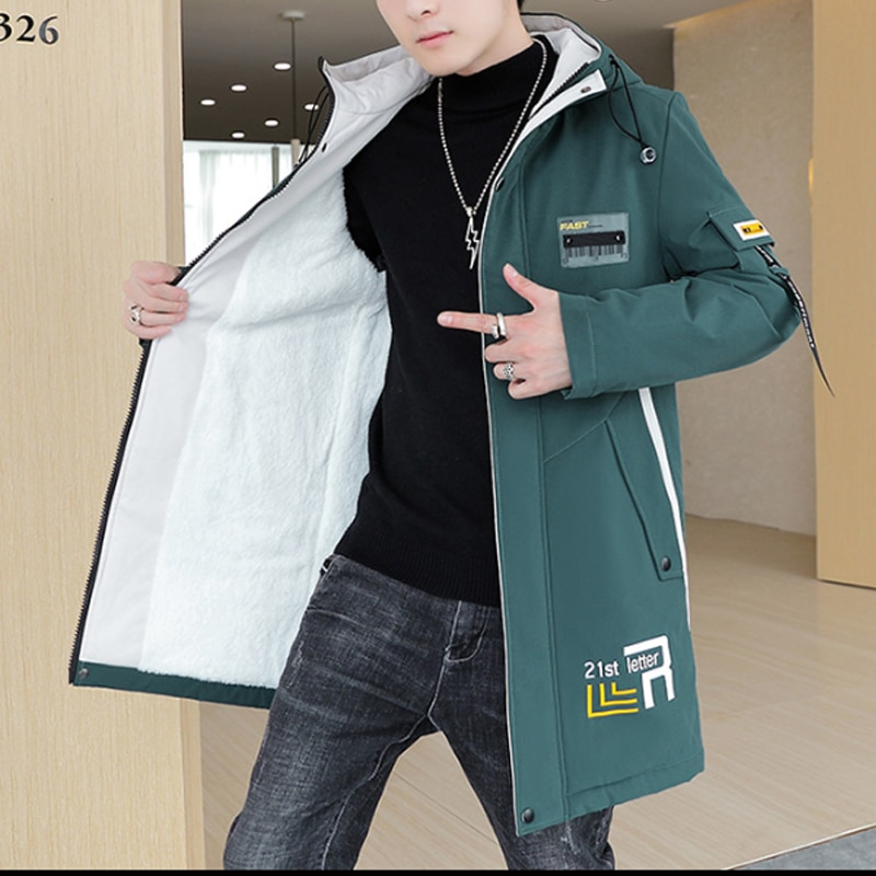 Ветровка мужская утепленная средней длины, модная уличная одежда в Корейском стиле, плюшевая утепленная Повседневная Свободная куртка с хл...