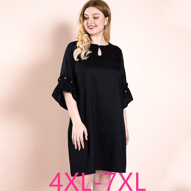 Female spring autumn plus size dress for women large loose casual half sleeve O neck knee length dresses black 4XL 5XL 6XL 7XL