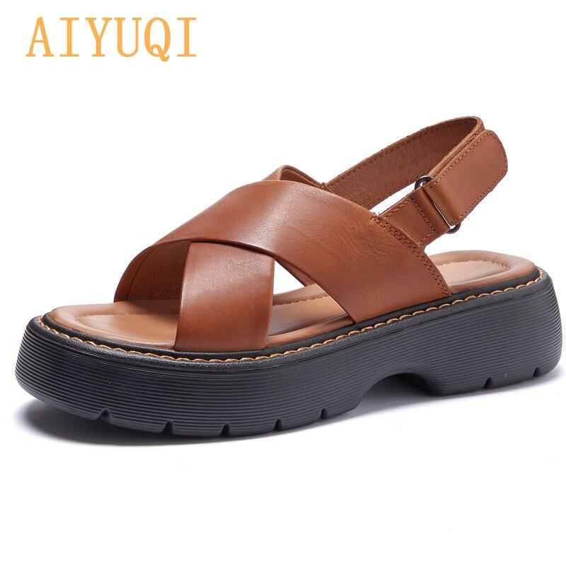 AIYUQI Women's Roman Sandals Genuine Leather 2021 New Platform Trend Women's Summer Sandals Open Toe Retro Sandals Ladies
