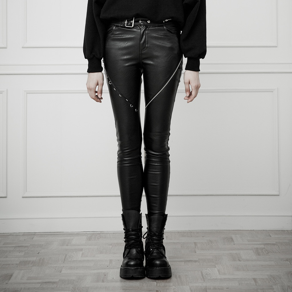 PUNK RAVE mujeres Heavy Industry asimétrico diseño de Metal Skinny PU pantalones de cintura alta pantalones de lápiz elásticos